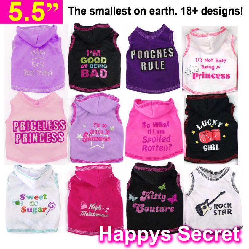 Small Dog/Puppy/Rabbit Tee Vest Hoodie Clothes XXS